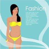 The Beautiful women long hair in bikini design,vector design Royalty Free Stock Image