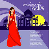 The Beautiful women long hair With India dress design,vector design Stock Image