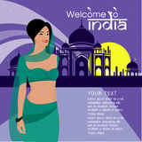 The Beautiful women long hair With India dress design,vector design Royalty Free Stock Images