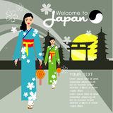 The Beautiful women long hair With japan dress design,vector design royalty free stock images