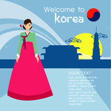 The Beautiful women long hair With korea dress design ,vector design royalty free stock photo