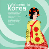 The Beautiful women long hair With korea dress design ,vector design Royalty Free Stock Photography