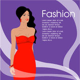 The Beautiful women long hair With red dress design ,vector design royalty free stock images