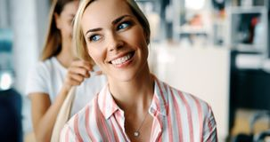 Beautiful woman with long blond hair royalty free stock image