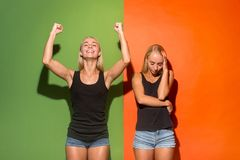 Free Beautiful Women Looking Happy And Unhappy Royalty Free Stock Photo - 124418575