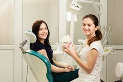 Beautiful woman patient having dental treatment at dentist`s office. Doctor holds the medical jaw stock image