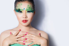 Beautiful women with perfect art make up and long false eyelashe Royalty Free Stock Photos