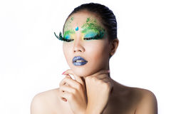 Beautiful women with perfect art make up and long false eyelashe Royalty Free Stock Photo