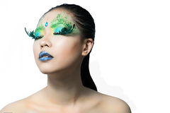 Beautiful women with perfect art make up and long false eyelashe Stock Photo