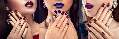 Beautiful woman with perfect make-up and blue manicure wearing jewellery. Beauty and fashion concept stock image