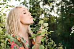 Beautiful women in plants. Young beautiful woman in plants stock images