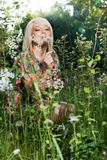 Beautiful women in plants. Young beautiful woman in plants stock photography