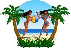 Women Playing Beach Ball On The Beach. Beautiful women playing with a ball on a tropical beach Royalty Free Stock Photos