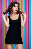 Beautiful women is playing with her hair Stock Images