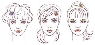 Beautiful women portraits. Linear illustration Royalty Free Stock Images
