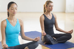 Beautiful Women Practicing Yoga At Health Club Royalty Free Stock Images