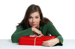 Beautiful women with red gift Royalty Free Stock Photos