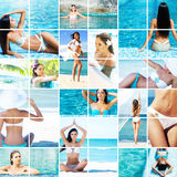 Beautiful women relaxing in the pool and on the beach Stock Photo