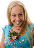 Beautiful women with rose in brest. Royalty Free Stock Photography