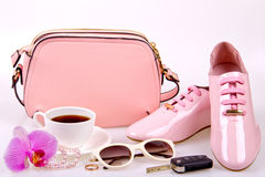 Beautiful women's minimal set of fashion accessories Royalty Free Stock Images