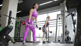 Beautiful women at same time doing exercises with a bar in the gym. In modern sports club, two female athletes are training with heavy sports equipment for stock video footage