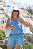 Beautiful Women in Santorini Stock Image
