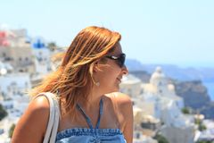 Beautiful Women in Santorini Royalty Free Stock Image