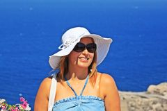 Beautiful Women in Santorini Royalty Free Stock Photos