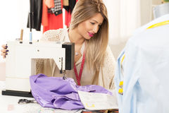Beautiful Women Sew Royalty Free Stock Photos