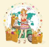 Beautiful Women with shopping bags Stock Photography
