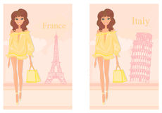 Beautiful women Shopping in France and Italy Royalty Free Stock Photos