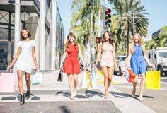 Beautiful women shopping Stock Images