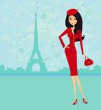 beautiful women Shopping in Paris Royalty Free Stock Photography