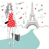 Beautiful women Shopping in Paris Royalty Free Stock Images