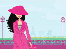 Beautiful women Shopping in Paris Stock Photo