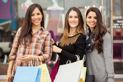 Beautiful women shopping together. Portrait of a group of beautiful Hispanic women doing some shopping together in a mall Royalty Free Stock Photos
