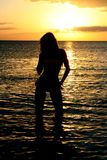 Beautiful women Silhouette. At the Beach Stock Images