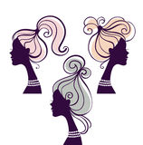 Beautiful women silhouettes. With long hair Royalty Free Stock Images