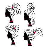 Beautiful women silhouettes. Isolated illustration Stock Illustration