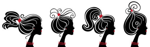 Beautiful women silhouettes. On white Vector Illustration
