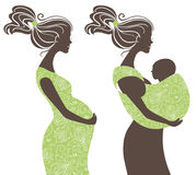 Beautiful women silhouettes. Pregnant woman and mother with baby in a sling Stock Photos