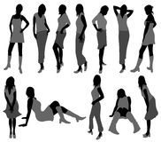 Beautiful women silhouettes Royalty Free Stock Image