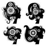 Beautiful women silhouettes. On white background Royalty Free Stock Image
