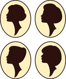 Beautiful women silhouettes with different hairs Stock Photos
