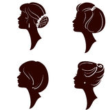 Beautiful women silhouettes with different hairs. Beautiful women and girl silhouettes with different hairstyle, set Royalty Free Illustration