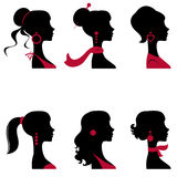 Beautiful women silhouettes set Royalty Free Stock Photo