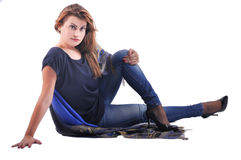 Beautiful women is sitting Stock Images