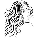 Beautiful women sketching head. Beautiful women head with long hair, sketching vector illustration vector illustration