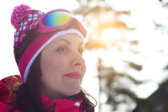 Beautiful women skier Stock Photos