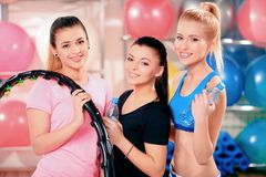 Beautiful women in sports club Royalty Free Stock Photo